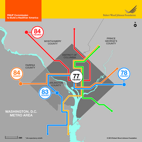 <p>The Robert Wood Johnson Foundation created these maps of health disparities across metro maps of Washington, D.C., New Orleans, Minneapolis, Kansas City, and the San Joaquin Valley.</p>