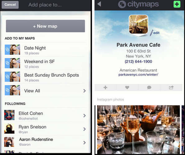 <p>Click on, say, a restaurant, and Citymaps will pull up recent Instagram photos, menus, Foursquare tips, and other data points that might help you figure out whether it's worth a trip.</p>