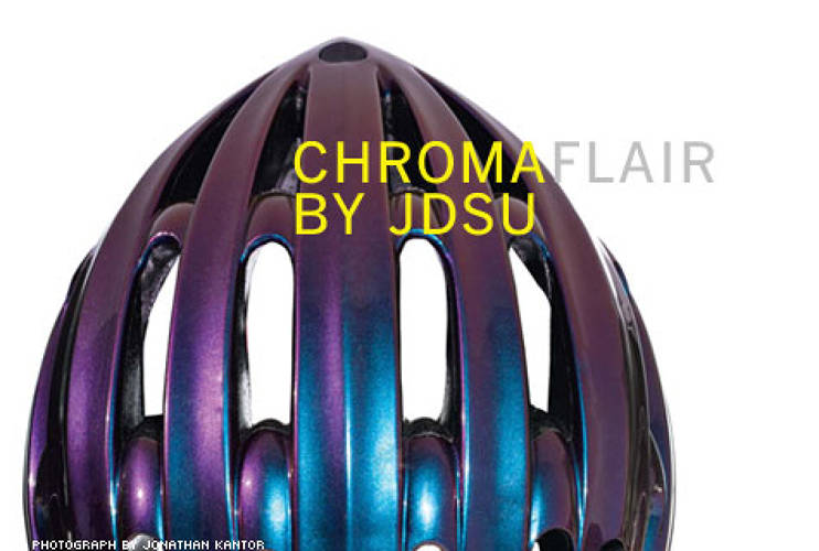 <p> Adored by brands such as Cadillac, Chanel, Target, and L'Oreal, ChromaFlair's refractive paints (shown here on a Trek helmet) are made of microthin film flakes, each less than one-tenth the width of a human hair. &quot;ChromaFlair is a replication of the effect you see on a butterfly wing,&quot; says Barbara Parker, designer for JDSU's 5,000-plus shades. &quot;By changing the thickness of the individual flake, we can change the color you see.&quot; And because the paints are pigment free, the colors never fade.  </p>