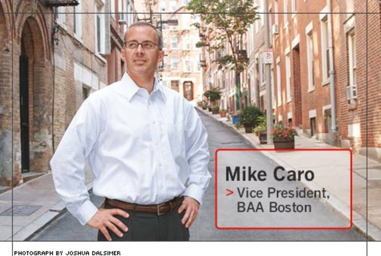 <p> Mike Caro, 40, supervises the construction, leasing, marketing, and management of 90,000 square feet of retail space at Boston Logan's Terminals B and E. Terminal B's $25 million redevelopment for American Airlines debuted this fall.  </p>