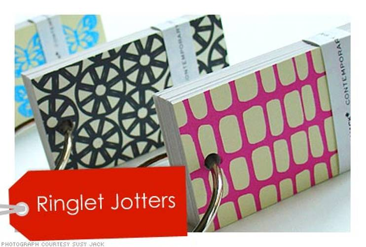 <p>These eco-friendly books attach to your key-chain. No more crumpled post-its in the bottom of your pants pocket or bag. </p>  <p>Price: $6 <br />More Info: <a href=&quot;http://www.susyjack.bigcartel.com/products?search=ringlet+jotters&search-submit=&quot; target=&quot;_new&quot;>Ringlet Jotters</a></p>