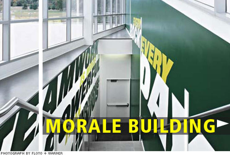 "<p>Inspirational words and phrases are emblazoned on walls throughout the building, <strong>emphasizing teamwork and preparation</strong>. ""The battle is won before it starts,"" says lead architect Roger Duffy, quoting a line from Sun Tzu's The Art of War that appears in one hallway.</p>"