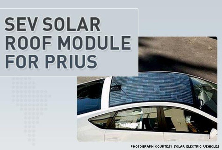 <p>Ready to make the best use of the sun&#8217;s summer rays, well then, the SEV Solar Roof Module might be for you. This bed of solar cells installs seamlessly onto the roof of your Toyota Prius and connects to its propulsion system, giving you an increased fuel efficiency of up to 29% and extra range of up to 20 miles per tank of gas. SEV also makes roof modules for other hybrids like the RAV4 and Ford Escape.</p> <p><strong><a href=&quot;http://www.solarelectricalvehicles.com/products.shtml&quot;>SEV Solar Roof</a></strong></p>
