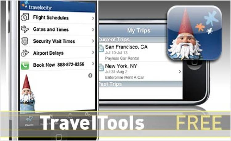 <p> Security wait times, gates and baggage areas, and flight delays updated in real time? We're there.  </p> <p> <a href=&quot;http://www.apple.com/webapps/travel/travelocityforiphone.html&quot; target=&quot;_new&quot;><strong>Learn more about this app</strong></a> </p>