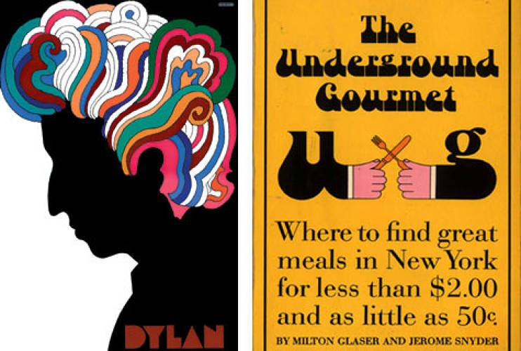 <p> Bob Dylan poster<br /> Possibly one of the most famous posters of all time, Glaser produced this illustration of a rainbow-headed Bob Dylan for CBS Records. It was included in 1967 album <em>Bob Dylan's Greatest Hits</em>.</p> <p><em>The Underground Gourmet</em> book<br /> Many people don't know that Glaser himself was a food critic. He started the Underground Gourmet column in <em>New York Magazine</em>, which, at the time, was quite revolutionary for featuring the cuisine of affordably-priced ethnic restaurants. The columns later became a book.</p>
