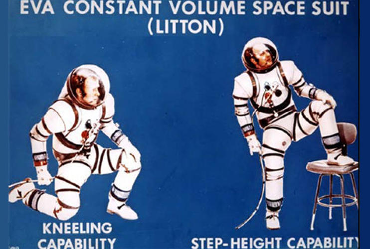 <p>Astronauts demonstrating the joint capabilities of Constant Volume Space (CVS) suits. Litton Industries, 1968, Courtesy of NASA. </p>
