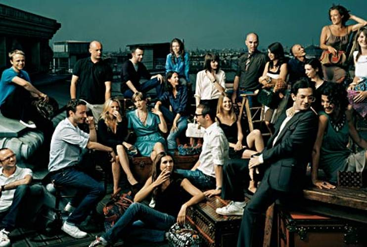 <p>The design team at Louis Vuitton (2006), photographed by Norman Jean Roy, on the roof of the former La Belle Jardiniere department store, now the corporate headquarters of Louis Vuitton, 2 Rue de Pont Neuf, Paris.  </p>