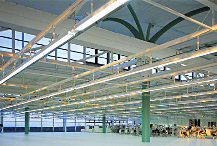 <p>Interior view of Louis Vuitton Production Workshop Ducey I (2002), Ducey Commune, Manche Department, France. Designed by Gilles Carnoy. </p>