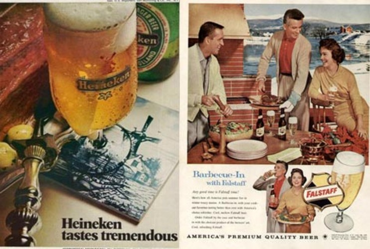 <p><strong>REAL WORLD:</strong> 1960's beer ads often targeted housewives featuring their beers alongside lavishly decorated tables and hearty spreads of food. Heineken was no exception. </p>