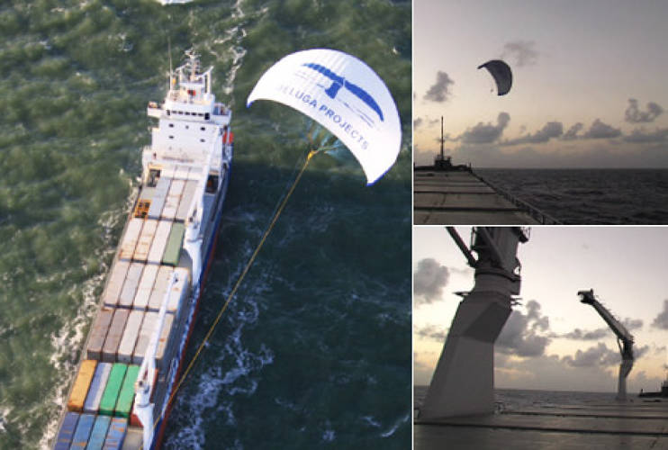 <p><a href=&quot;http://www.skysails.info&quot;>SkySails</a> are large-scale wind propulsions for cargo vessels similar to conventional sailing systems, but differ in that they are attached to the ship via a long towing rope rather than fitted to the mast. They consist of three major components: the towing kite and rope, the launch and recover system, and a control unit for automatic operation. When in effect they transform large cargo ships with effective loads of 8 to 32 tons into sailboats, capturing the wind as energy, and reducing a ship's annual fuel costs by 10 to 35 percent.</p>