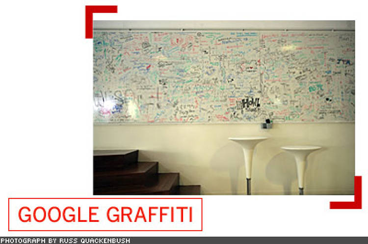 <p> In most buildings, there's a huge whiteboard that stretches nearly the length of a wall. At least it starts out white, but soon, it's filled with doodles, shout-outs, ideas, and, in one case, an enormous diagram for a Rube Goldberg-like machine.  </p>