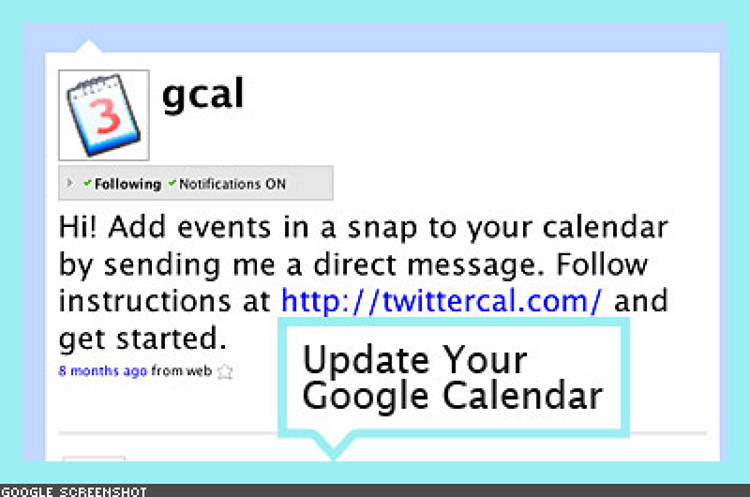 <p> Add gcal as your friend, and then grant <a href=&quot;http://twittercal.com/&quot;>Twittercal</a> access to your Google Calendar. After authorization, it's as simple as using Twitter from the Web, IM, TXT, or any of the many desktop Twitter clients, to send direct messages to your Google Calendar to add events. </p>