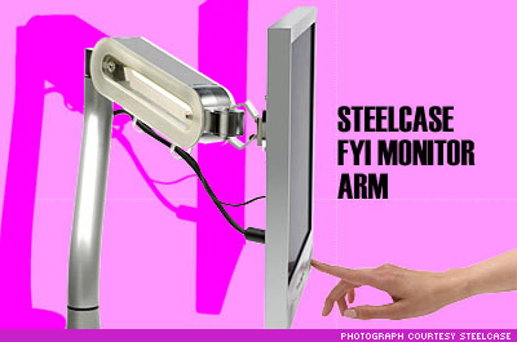 <p><strong>What it is:</strong> A monitor arm that lets you move your computer screen around without having to clear off your desk.</p><p><strong>Why it's cool:</strong> The FYI makes it easy to fine-tune your workspace. If you're collaborating on something, for example, you can move your monitor to let your colleagues get the same view you have. The arm also makes it easy to move your monitor out of the sun during the day. Plus, it looks sleek. Steelcase also offers a model that will support two displays.</p><p><strong>Drawbacks:</strong> Steelcase's high design is not cheap. The FYI only works with flat-panel monitors, so those with CRTs are out of luck. It does not come in a version that mounts on the wall, either.</p><p><strong>Price:</strong> $295, <a href=&quot;http://www.steelcase.com&quot; target=&quot;_new&quot;>www.steelcase.com</a></p>