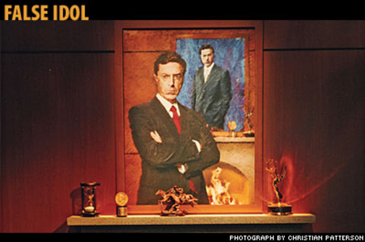 <p>For this self-referential portrait of Stephen Colbert, the pseudo-conservative blowhard at the center of <em>The Colbert Report</em>, Fenhagen had a photographer shoot him, then &quot;messed with it to make it look like a painting.&quot; Inside the fireplace is a video of fire on a flat-screen TV. The Peabody and Emmy awards on the mantel are real; the <em>T</em> in Colbert is silent.</p>
