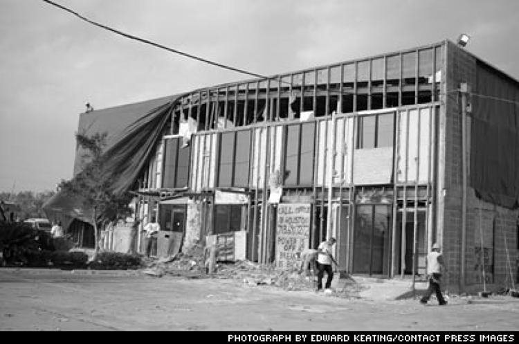 <p>The hurricane snaked under the roof, blowing ceiling tiles into offices and spitting bricks out of an exterior wall.</p>