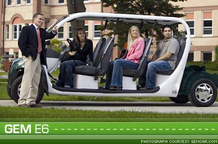 <p>This zero-emission <a href=&quot;http://gemcar.com/asp/e6.asp&quot;>GEM e6</a> Neighborhood Electric Vehicle (NEV) is perfect for use in residential environments, and has enough space for the entire family. Its six 12-volt-maintenance free batteries can cover you for up to 30 miles of cruising.</p>