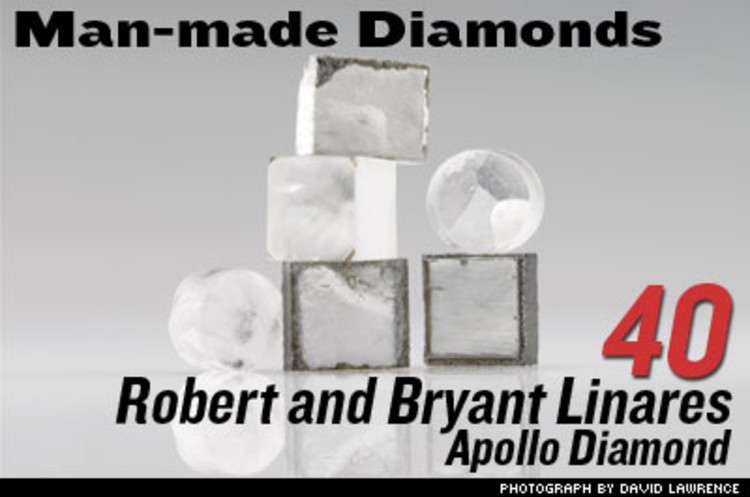<p>Robert and his son Bryant spray heated carbon gas over diamond chips; under extreme pressure, the carbon settles on the chips and builds on it. You get diamonds in a week. One-carat stones will be released this year at one-third their usual cost. By 2016, they think half of all diamonds will be lab-grown.</p>