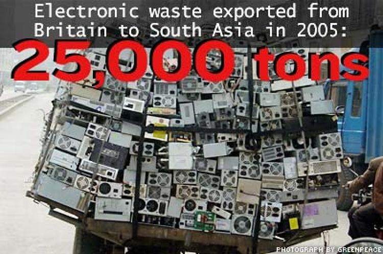 <p>In 2004 the British Environment Agency reported that exported waste included tens of thousands of computers, 500,000 television sets, three million refrigerators, 160,000 tons of other electrical equipment and millions of discarded mobile phones.</p>