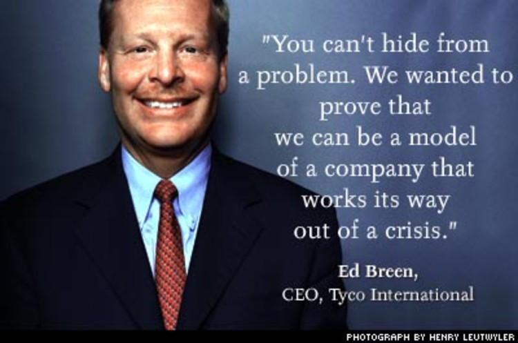<p>When CEO Ed Breen took over at Tyco, he fired the very board that hired him. That was just the start. After a series of investigations, firings, restructurings, board battles, and financing events, the housecleaning represents one of the biggest management upheavels ever. The result? Tyco's debt decreased $12 billion and Tyco is back from the brink.</p>