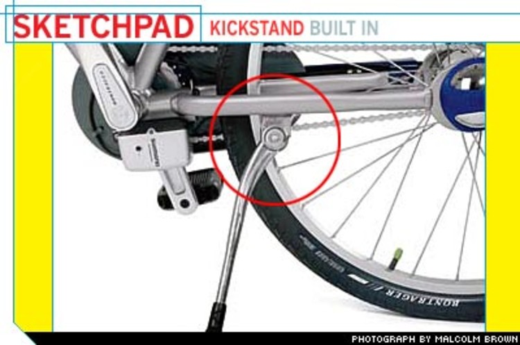 <p> Kickstands are normally sold separately; they're an easy source of additional revenue for bike dealers. But Trek designers insisted that one be built in to eliminate another barrier for nonriders.  </p>