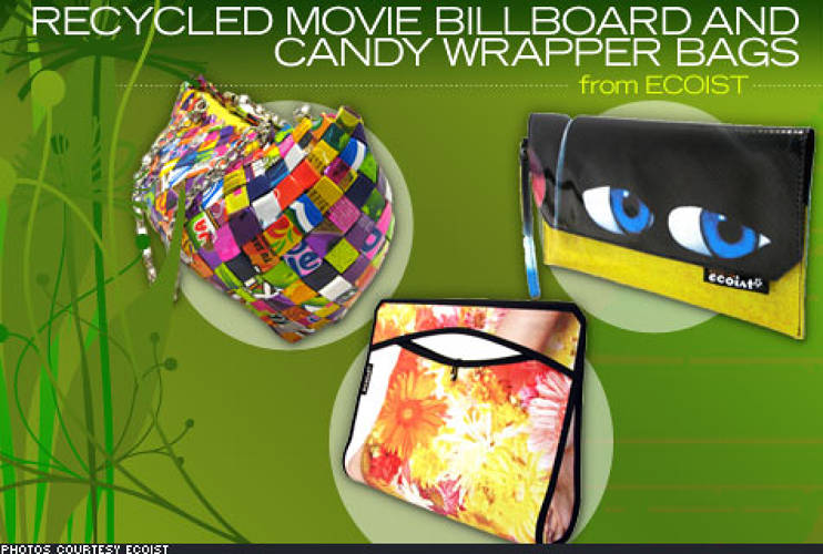 <p> Instead of having unwanted materials end up in landfills, <a href=&quot;http://www.ecoist.com/&quot;>Ecoist</a> sources them to create an eclectic collection of colorful bags. In collaboration with Modulab in Chile, the organization collects outdoor movie billboards that are past their advertising period. The end result: a fabric of endless colors, patterns, symbols, images, and celebrity faces. Another line of bags from pre-consumer, factory misprints of candy wrappers, chip bags, soda labels and other types of flexible food packaging is also available. </p> <p> Billboard bags range from $35 to $48, and candy wrapper bags from $118-$168. </p>
