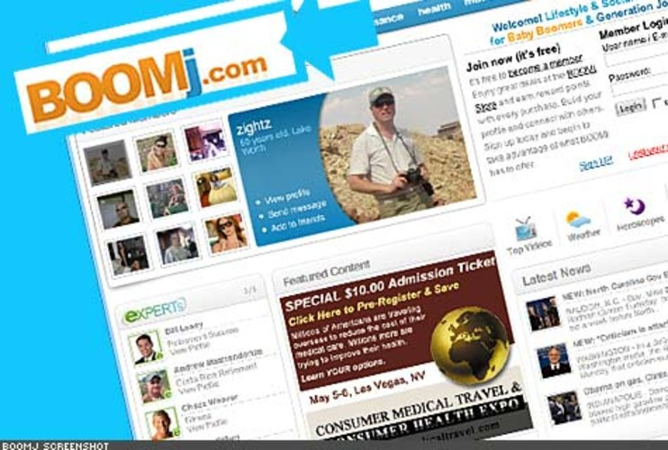 <p> This social network for Baby Boomers and Generation Jones feels like a more grown-up and less garish version of MySpace. It also features an online store where you can purchase everything from antioxidants to digital cameras and earn reward points for your purchases. You can also earn points for signing up and completing your profile, among other basic site activities, that can be redeemed for a discount at the store.<br /> <a href=&quot;http://www.boomj.com/&quot; target=&quot;_new&quot; title=&quot;Boomj&quot;>http://www.boomj.com/</a>  </p>