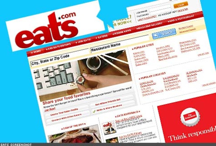 <p> Recently launched, this site is a social network for food lovers. User profiles feature favorite restaurants, restaurant reviews, favorite dishes, and photos of meals. The user-generated content then aggregates into long lists of restaurants organized by criteria like type of food or neighborhood. The restaurant directory is also displayed on a map.<br /> <a href=&quot;http://www.eats.com/&quot; target=&quot;_new&quot; title=&quot;Eats.com&quot;>http://www.eats.com/</a>  </p>