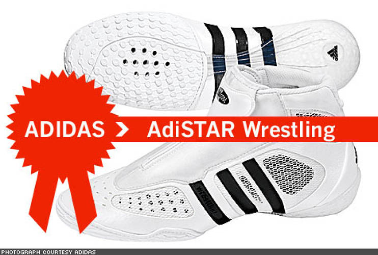 "<p> The ADISTAR WRESTLING shoe was designed not only to take a beating in the ring, but also to give the wrestler the kind of support and agility from a shoe never before seen. It boasts Adidas' ""RadialCurve"" contour on the heel, which hugs the sole to every area of the foot at all times.  </p>"