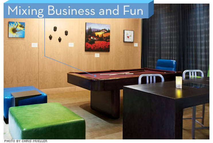 <p> To personalize each Aloft location, Starwood showcases local art in its public areas and offers games that cater to regional tastes (think air hockey for its hotels in Canada). There is no business center, but free Wi-Fi and electrical outlets built into the furniture let guests work while waiting to play.  </p>