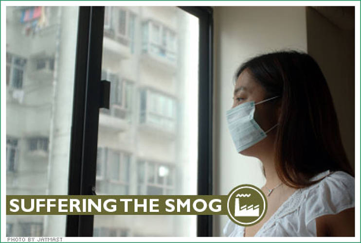 <p> No, it's not a SARS epidemic--just a hazy day in Beijing, where a white mask is standard commuter wear. </p>