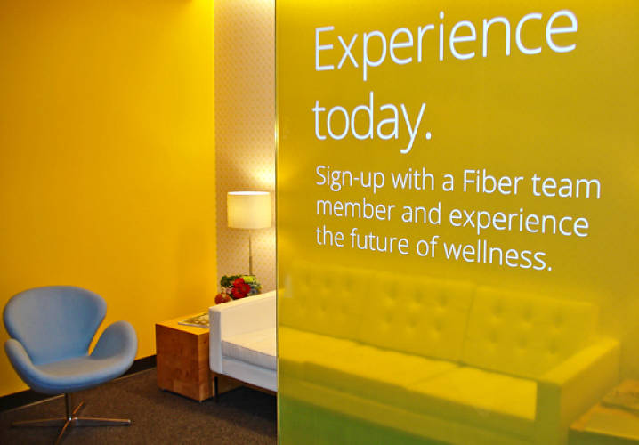 A waiting room and private telepresence area lets community members visit virtually with nutritionists at nearby University of Kansas Medical Center. Get it? Fiber?