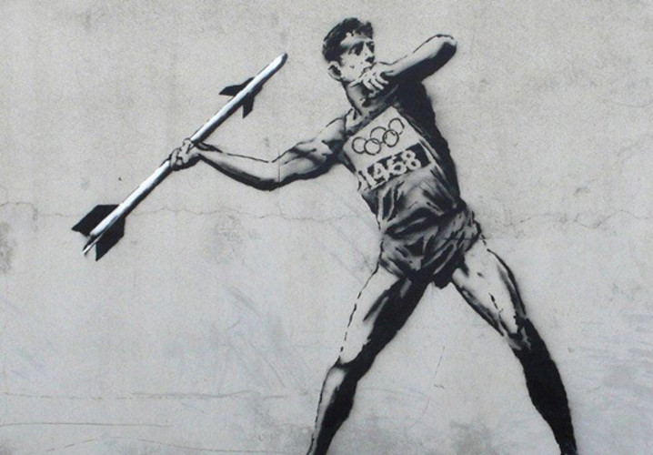 Was there any chance Banksy would sit out the 2012 Olympics? Probably not. </br></br> <a href=&quot;http://www.fastcocreate.com/1681285/as-authorities-crack-down-banksy-enters-the-olympic-graffiti-games&quot;>Read more here</a>