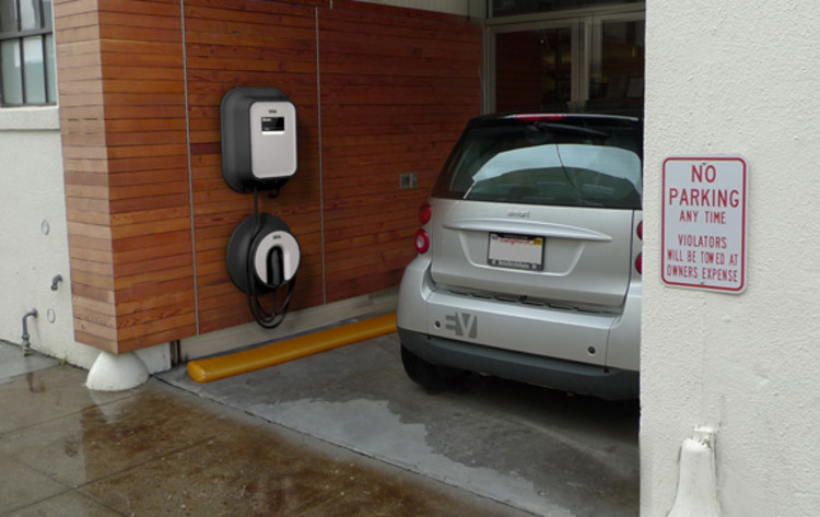 The home version of ECOtality's charger consists of two separate units intended to be installed at eye level. The adaptable charger lies close to the wall and contains no sharp edges--it's designed, in other words, to be as non-intrusive as possible.