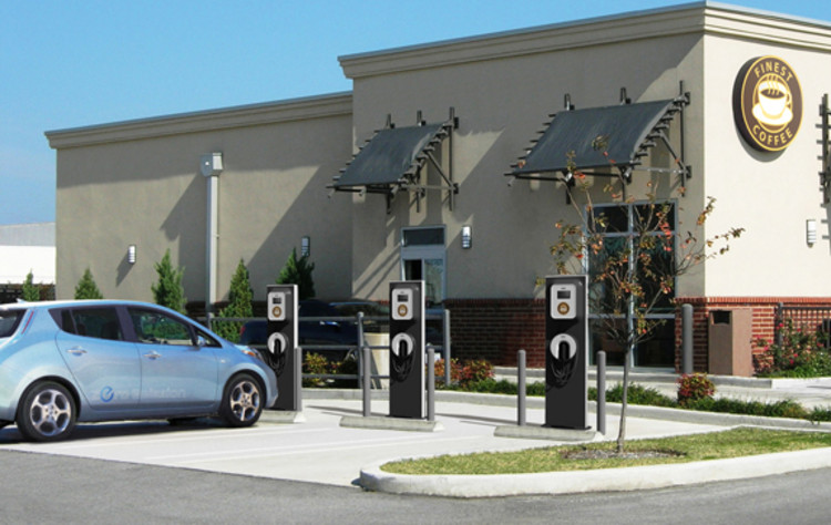 The public version of ECOtality's charger shares some of the same parts and maintains the same look and feel, but with an added nuance: a light at the top signals that a parking spot/charging station is available. The light goes off when a patron parks their EV in the spot. According to ECOtality, shops will also have the option of &quot;rebranding&quot; the charging stations to suit their needs. <p> Eventually, ECOtality will unveil ultra fast-charging Level III stations. But for now, the company is trying to roll out the Level II stations strategically. &quot;We want to identify where [electric] cars will be in 10 years and serve some of those retailers,&quot; Read says.