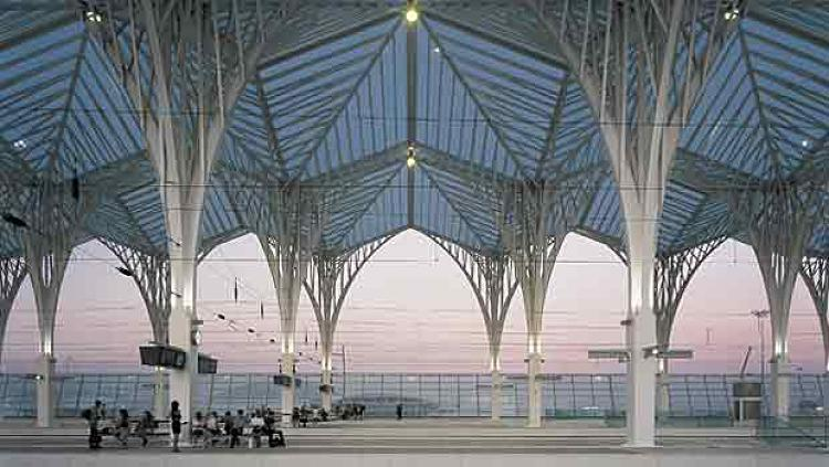 Some critics have suggested that the pillars in the Oriente Station in Lisbon, Portugal resemble da Vinci's Vetruvian man or Christ on the Cross. Calatrava's original sketches put the station in the midst of a grove of trees on a hill, and the arboreal forms of the support beams do, indeed, resemble a forest. providing an interesting contrast to the very urban experience of a train station.