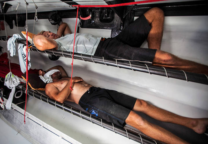 Warm and sunny conditions onboard make sleeping difficult, particularly inside a black boat with a black deck. PUMA Ocean Racing powered by BERG during leg 6 of the Volvo Ocean Race 2011-12, from Itajai, Brazil, to Miami, USA
