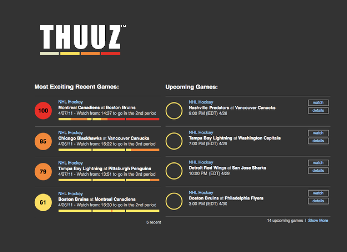 <p><a href=&quot;http://thuuz.com&quot;>Thuuz</a> is one of the more ingenious web startups we've seen lately. Built for sports fans with busy schedules, Thuuz first asks you which teams you care about (in basketball, hockey, baseball, soccer, cricket, or football). Using current statistics and your tastes, the system then calculates an &quot;excitement rating&quot; for each game that is about to air in the leagues you follow. If you love the New York Rangers, you'll get a text when the Philadelphia Flyers are about to play a highly ranked team; since these teams are historical rivals, Thuuz knows you want to see the Flyers get trampled, and that this is a holy cause worth DVRing.</p>