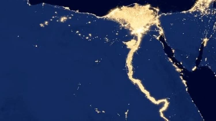 <p>Reminding us how much of our lives are shaped by the landscape, the night time lights of Egypt trace the same route the ancient Egyptians followed: Along the Nile river.</p>