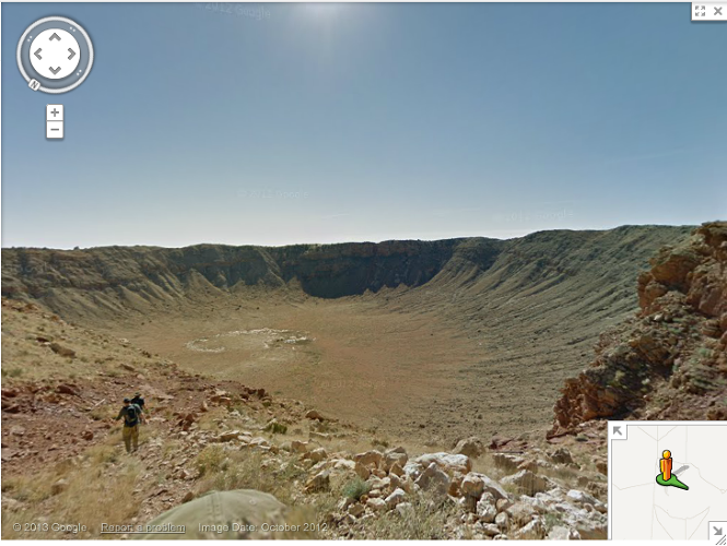 <p>Meet ya in Meteor Canyon. I'll be the one with the golf ball-cycling helmet hybrid sticking out of my backpack. [<em>Image by <a href=&quot;http://bit.ly/WBPBJq&quot; target=&quot;_blank&quot;>Google Maps</a></em>]</p>