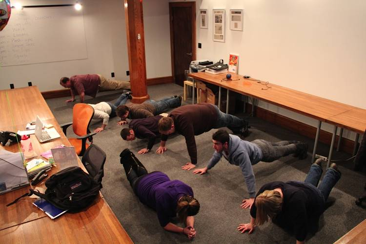 <p>Push-ups for the strong; planks for the less strong.</p>