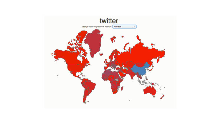 <p>Twitter has a healthy global audience, except in China--where the microblogging service is blocked.</p>