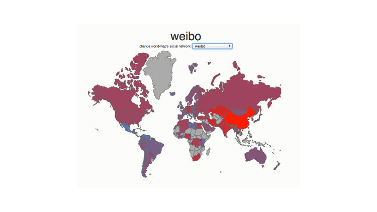 <p>Weibo, as expected, has its largest user base in China. However, several African and Central Asian countries have usage rates comparable to that of Chinese-speaking Taiwan.</p>