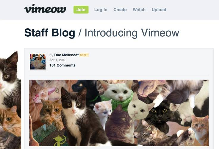 <p>Vimeo revealed its new branding: &quot;The company formerly known as Vimeo has not been one to pounce on Internet trends. The Hula Hoop, for example--not for us. But it cannot be denied that cat videos, with their unforgettable characters and riveting plot lines, are here to stay.&quot; Okay, Vimeo. Where's the joke?</p>