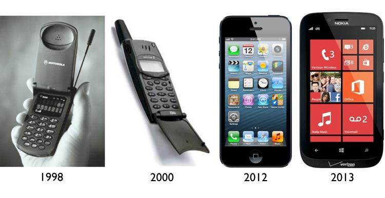 <p>Two of the first cell phones the author owned, and two of his most recent phones. How mobile tech has changed (and gotten heavier, ironically)!</p>