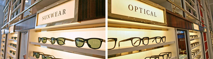 <p>Each section of glasses is marked sunglasses or optical, but there is no specific pattern to the sections--the right fit might be anywhere in the store.</p>