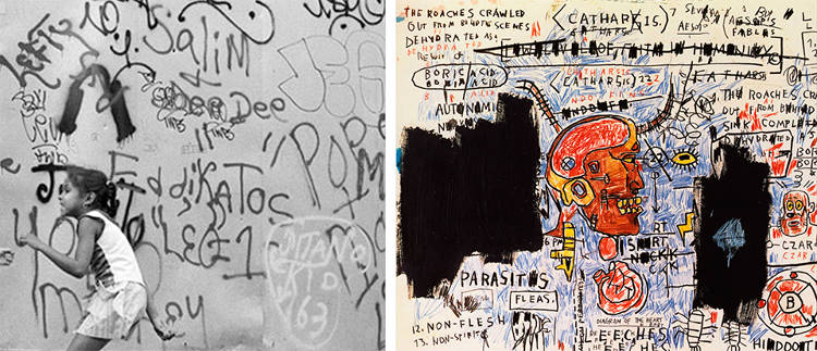 <p>Basquiat &quot;borrowed&quot; the aggressive, scrawly primitivism of street art and graffiti for his paintings.</p>