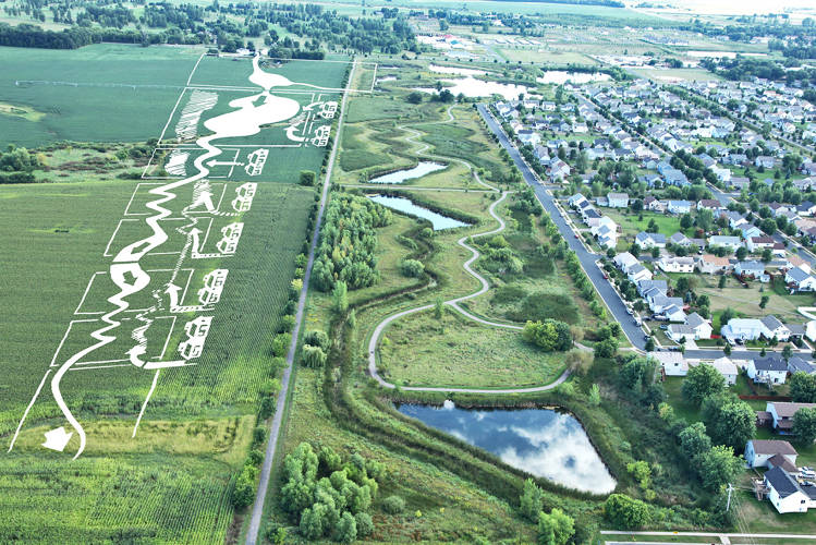 <p>Prairie Waterway Stormwater Park: Completed in 1996, a drainage system for a new development serves to create 91-acres of green public space for a new residential community in Minnesota.</p>