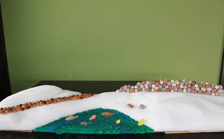 <p>Candy starts to be placed on the foam structure</p>