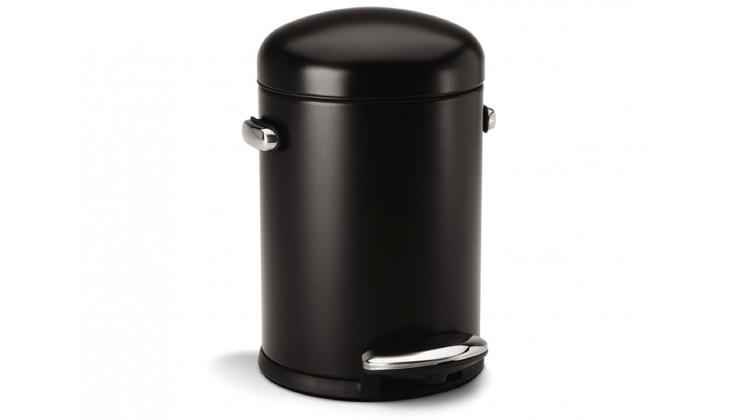 <p>Tall, sleek, black... and bringing a whole new cylindrical meaning to &quot;emptying the trash.&quot; It's Simplehuman's 4.5-liter trash bin.</p>