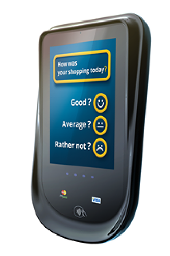 <p>Synqera's Simplate POP terminals take credit card purchases and scan customers' facial expressions with camera sensors.</p>